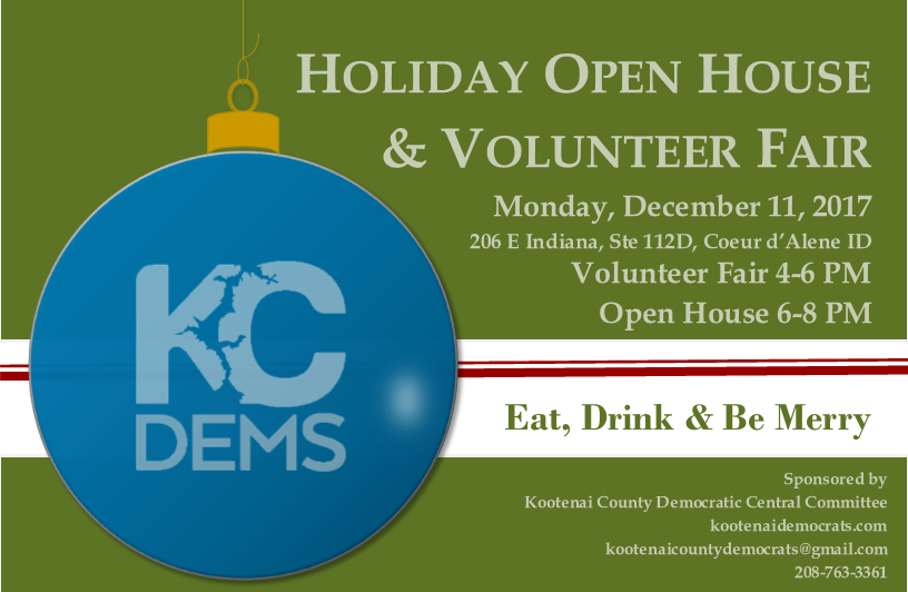 Kootenai Democrats Holiday Open House and Volunteer Fair